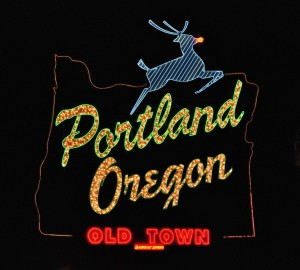 Portland Oregon - White Stag sign.  Photo by Steve Morgan.