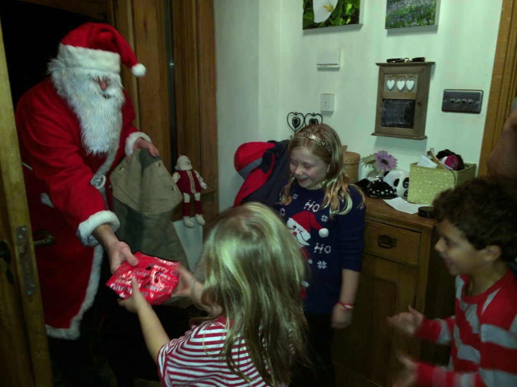 Logan and his cousins greet Santa Claus.