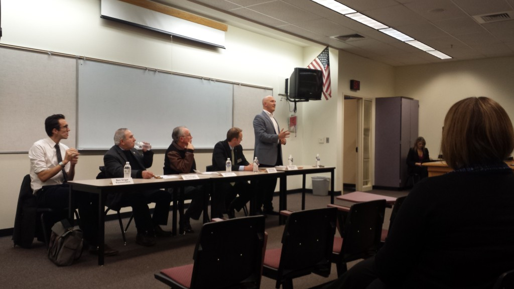 State Reps. Ben Unger, Joe Gallegos, Jeff Barker, John Davis and state Sen. Bruce Starr speak at an education town hall.