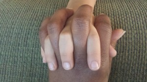 Interlocking fingers with my son.