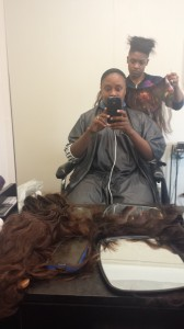 Getting my weave sewn in.