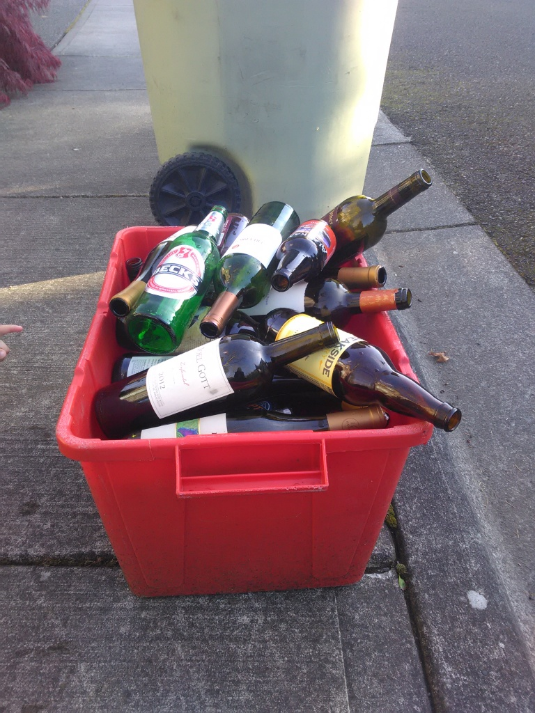 My recycling bin after Wendi's visit. Granted it wasn't just us, Hubby helped fill the bucket too.