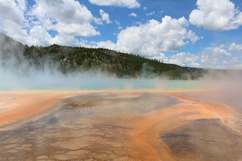 The Grand Prismatic Spring is about 250 by 300 feet (80 by 90 m) and is 160 feet (50 m) deep. The waters average 160 °F (70 °C).