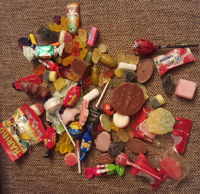 Ethan's haul after hitting more than 20 homes. Clearly, no one was even thinking about the coveted big candybars of my childhood.