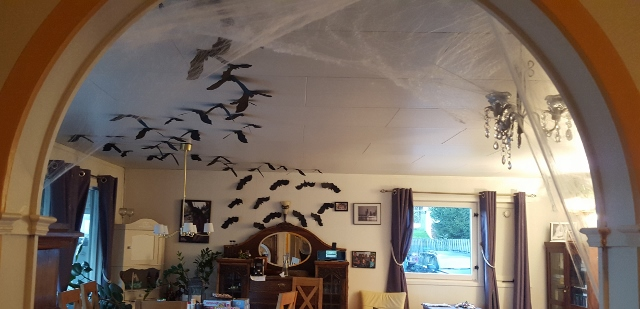 I didn't get a many pictures of the bats we made, but you get the gist. There were 70 swarmed on the walls and ceiling.