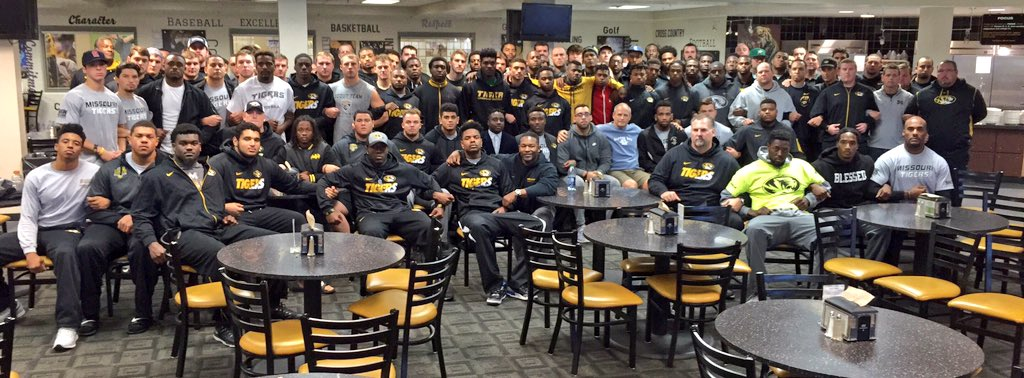 Missouri's football team, coaches and staff show solidarity amid racial unrest on campus. Photo from Pinkel's Twitter feed.