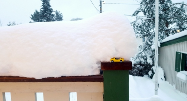 I put a toy car on our porch so you guys can see how much it snowed.