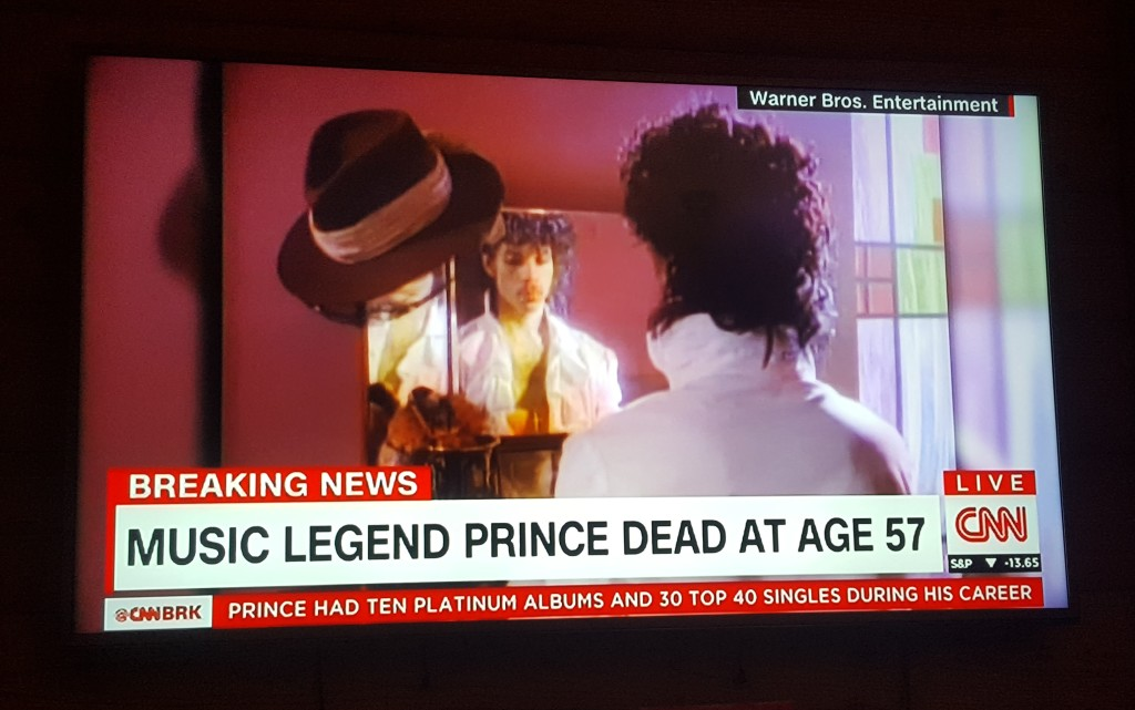 We turned on the TV to check what was happening in the States and were shocked at the headline. #RIPPrince