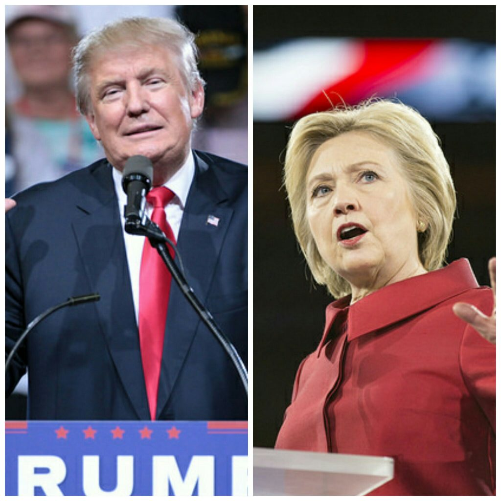Today's Election Day in the U.S. who will come out on top? (Photos by Gage Skidmore and Lorie Shaull.)